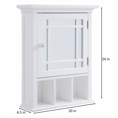 Elegant Home Fashions Neal 1-Door Medicine Cabinet in White Perspective: bottom
