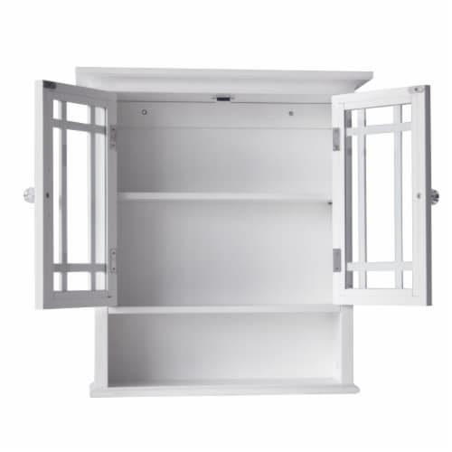 Elegant Home Fashions Wooden Bathroom Wall Cabinet 2 Doors Neal White 7473 Perspective: bottom