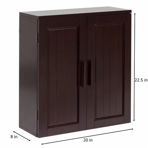 Elegant Home Fashions Wooden Bathroom Wall Cabinet 2 Doors Espresso Catalina 7695 Perspective: bottom