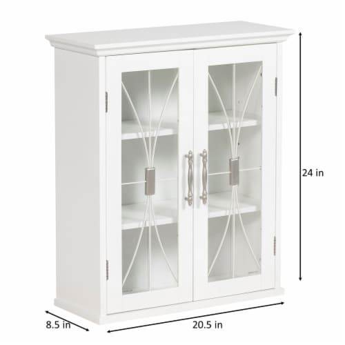 Elegant Home Fashions Delaney 2-Door Wall Cabinet in White Perspective: bottom