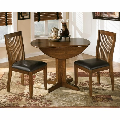 Bowery Hill Round Wood Dining Table in Brown Perspective: bottom