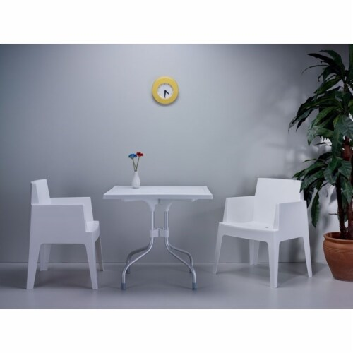 Atlin Designs 31  Square Folding Dining Table in White Perspective: bottom
