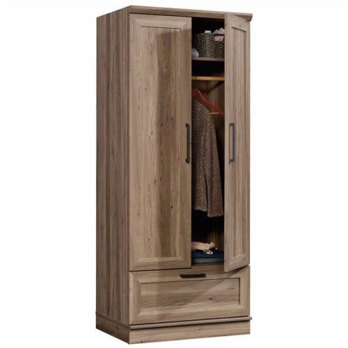 Pemberly Row Wardrobe Armoire with 1-Drawer in Salt Oak Perspective: bottom