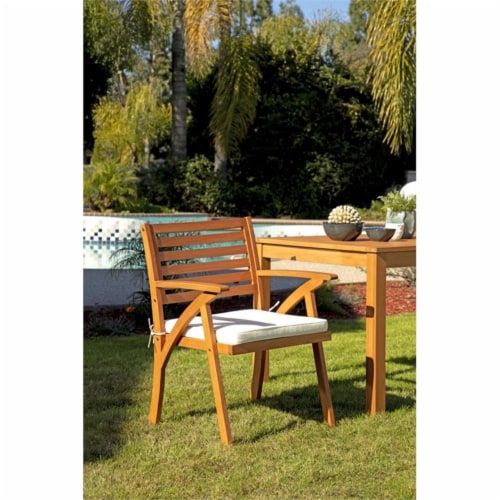 Stonecroft Furniture Nathan 6 Piece Wood Outdoor Dining Set in Brown Perspective: bottom