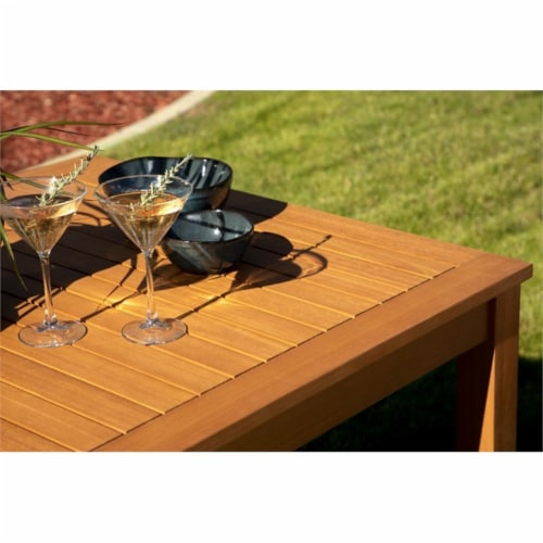 Stonecroft Furniture Nathan Eucalyptus Wood Outdoor Dining Table in Brown Perspective: bottom