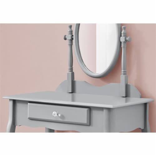 Monarch Vanity and Upholstered Stool in Gray Perspective: bottom