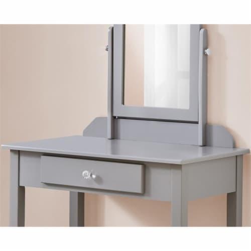 Monarch Contemporary Wooden Bedroom Vanity With Mirror in Gray Perspective: bottom