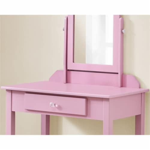 Monarch Contemporary Wooden Bedroom Vanity With Mirror in Pink Perspective: bottom
