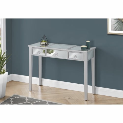 Monarch 42  2-drawer Mirrored Wood Vanity Table with Flip Top in Silver Perspective: bottom