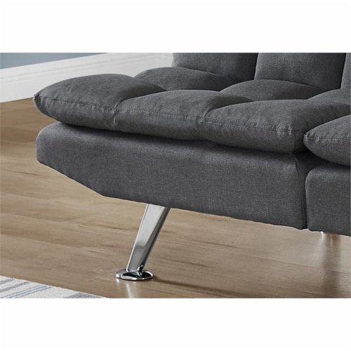 Monarch 70  Biscuit Fabric Tufted Pillow Top Split Back Futon in Dark Gray Perspective: bottom
