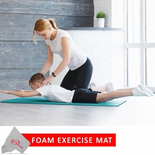 Vivitar Pfv8277 5mm High Density Foam Exercise Roll Up Teal Mat For Yoga Perspective: bottom