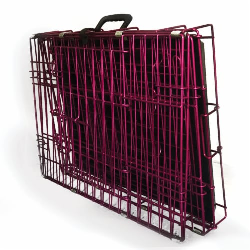 Backyard Expressions Pink 24 Inch Foldable Double Door Metal Pet Crate Perspective: bottom