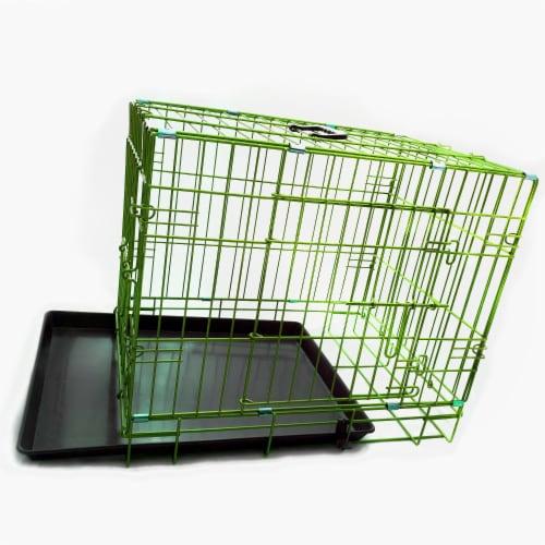 Backyard Expressions Green 24 Inch Folding 2 Door Metal Pet Crate Perspective: bottom