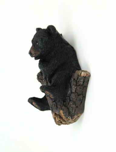 Hand Painted Black Bear in Pine Tree Decorative Wall Hooks Set of 3 Perspective: bottom