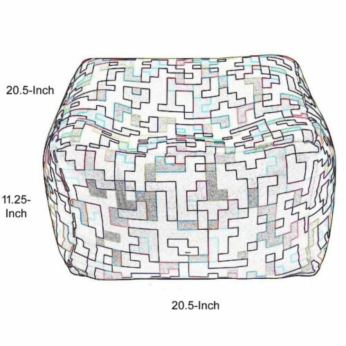 Saltoro Sherpi Fabric Pouf Ottoman,Multicolored Perspective: bottom