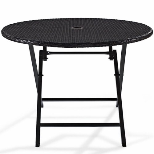 Steel Round Wicker Foldable Patio Dining Table in Brown-Bowery Hill Perspective: bottom