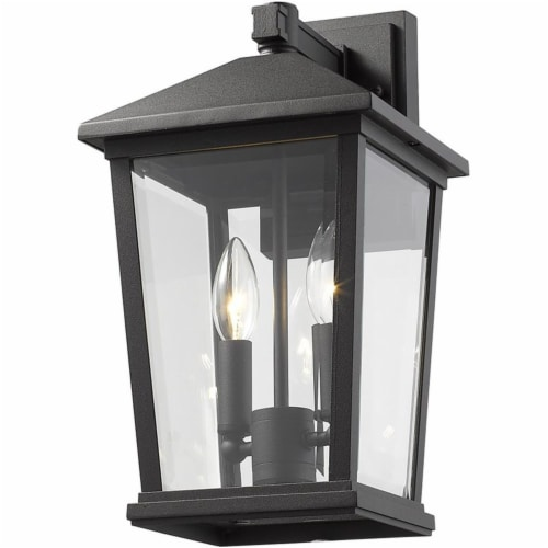 Z-Lite Beacon 2 Light 15  Clear Glass Aluminum Outdoor Wall Sconce in Black Perspective: bottom