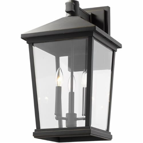 Z-Lite Beacon 3 Light 23  Clear Glass Aluminum Outdoor Wall Sconce in Bronze Perspective: bottom