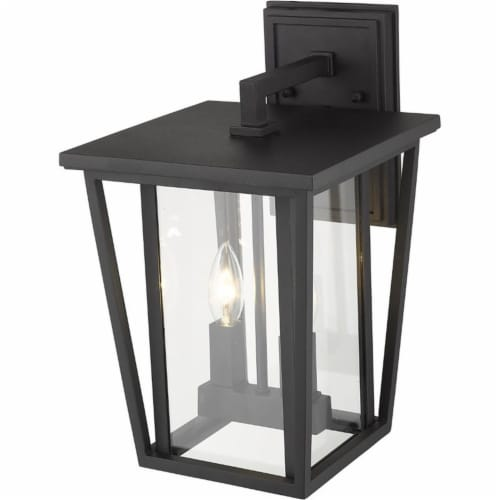 Z-Lite Seoul 2 Light 15  Clear Glass Aluminum Outdoor Wall Sconce in Black Perspective: bottom