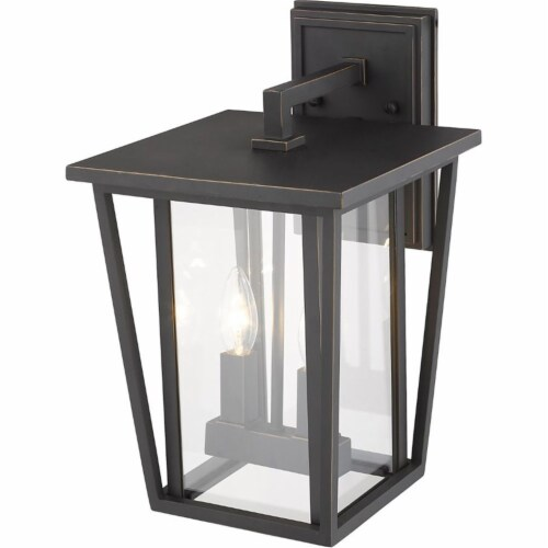 Z-Lite Seoul 2 Light 15  Clear Glass Aluminum Outdoor Wall Sconce in Bronze Perspective: bottom