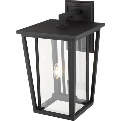 Z-Lite Seoul 2 Light 19  Clear Glass Aluminum Outdoor Wall Sconce in Black Perspective: bottom