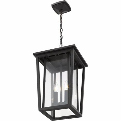 Z-Lite Seoul 2 Light Clear Glass Aluminum Outdoor Chain Mounted Pendant in Black Perspective: bottom