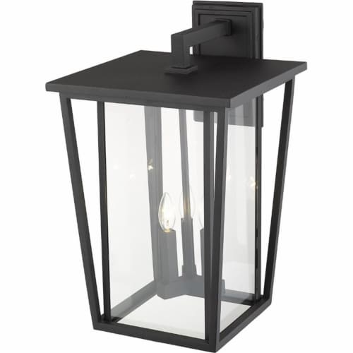 Z-Lite Seoul 3 Light 23  Clear Glass Aluminum Outdoor Wall Sconce in Black Perspective: bottom