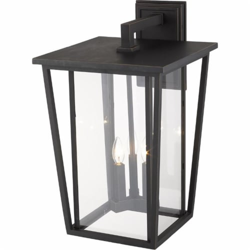 Z-Lite Seoul 3 Light 23  Clear Glass Aluminum Outdoor Wall Sconce in Bronze Perspective: bottom
