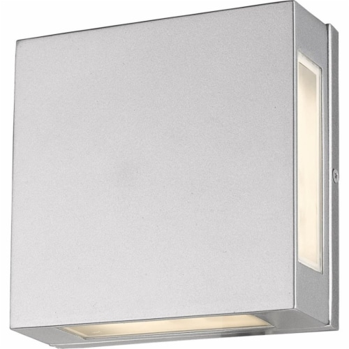 Z-Lite Quadrate 2 Light 9  Glass Aluminum Outdoor LED Wall Sconce in Silver Perspective: bottom