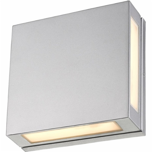 Z-Lite Quadrate 2 Light 11  Glass Aluminum Outdoor LED Wall Sconce in Silver Perspective: bottom