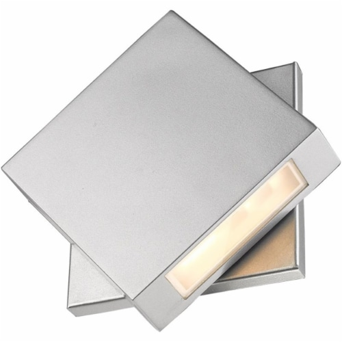Z-Lite Quadrate 9  Sand Blast Glass Aluminum Outdoor LED Wall Sconce in Silver Perspective: bottom