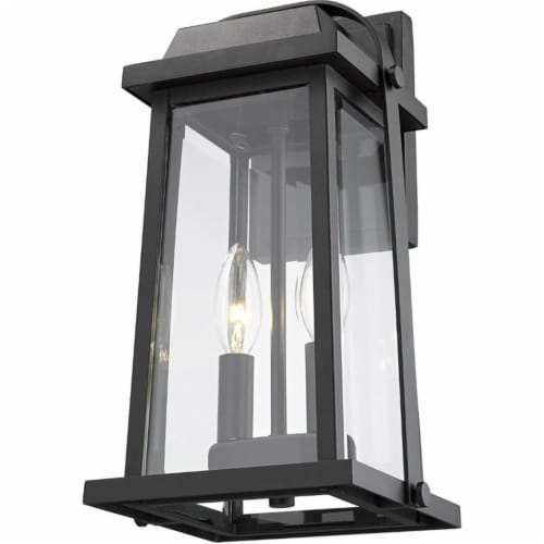 Z-Lite Millworks 2 Light Clear Glass Aluminum Outdoor Wall Sconce in Black Perspective: bottom