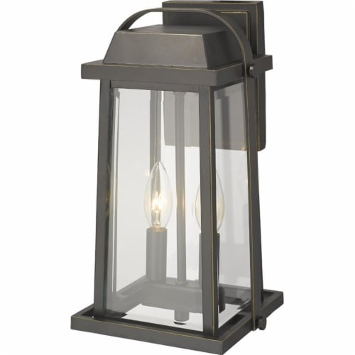 Z-Lite Millworks 2 Light Clear Glass Aluminum Outdoor Wall Sconce in Bronze Perspective: bottom