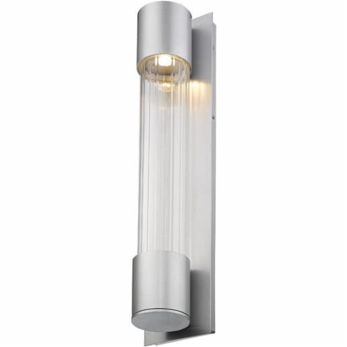 Z-Lite Striate 2 Light 24  Glass Aluminum Outdoor LED Wall Sconce in Silver Perspective: bottom