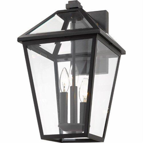 Z-Lite Talbot 3 Light 21  Clear Glass Steel Outdoor Wall Sconce in Black Perspective: bottom