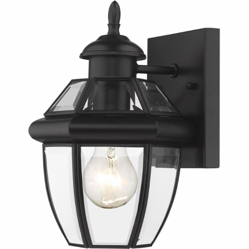 Z-Lite Westover 11  Clear Glass Brass Outdoor Wall Sconce in Black Perspective: bottom