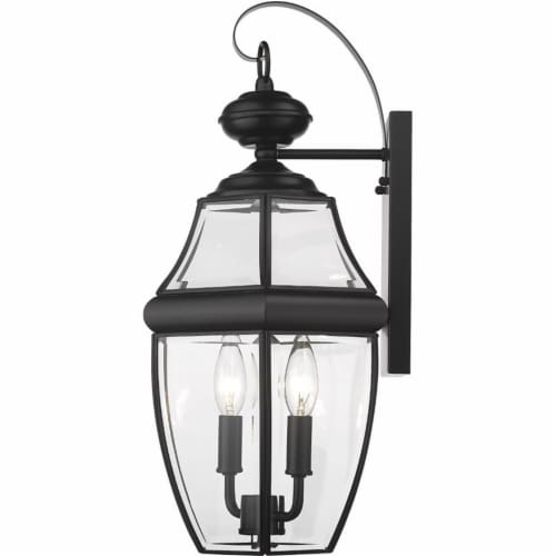 """Z-Lite Westover 2 Light 20"""""""" Clear Glass Brass Outdoor Wall Sconce in Black Perspective: bottom"""