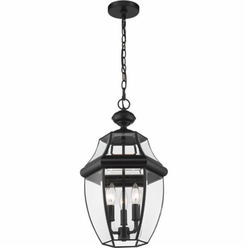 Z-Lite Westover 3 Light Clear Glass Brass Outdoor Chain Mounted Pendant in Black Perspective: bottom