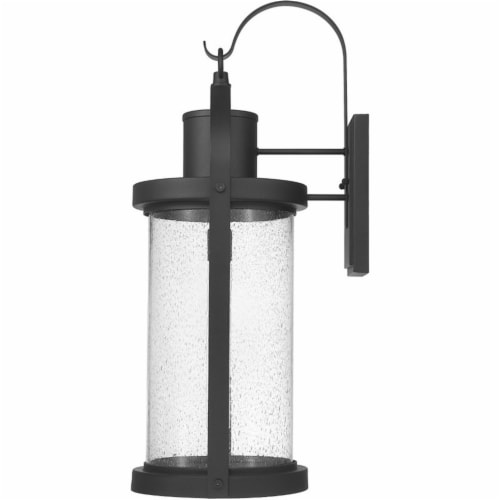 Z-Lite Roundhouse 32  Seedy Glass Aluminum Outdoor Wall Sconce in Black Perspective: bottom