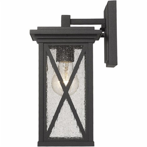 Z-Lite Brookside 12  Seedy Glass Aluminum Outdoor Wall Sconce in Black Perspective: bottom