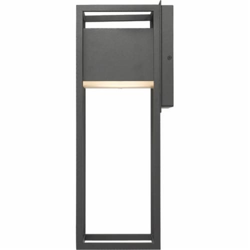 Z-Lite Barwick 18  Etched Glass Aluminum Outdoor LED Wall Sconce in Black Perspective: bottom