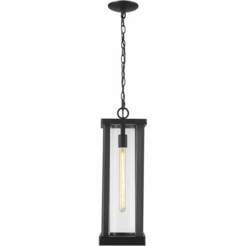 Z-Lite Glenwood 22  Clear Aluminum Glass Outdoor Chain Mounted Pendant in Black Perspective: bottom
