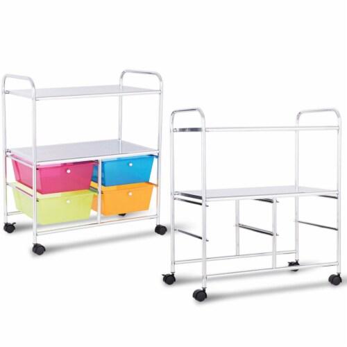 Costway 4 Multifunctional Drawers Rolling Storage Cart Rack Shelves Shelf Home Office Perspective: bottom