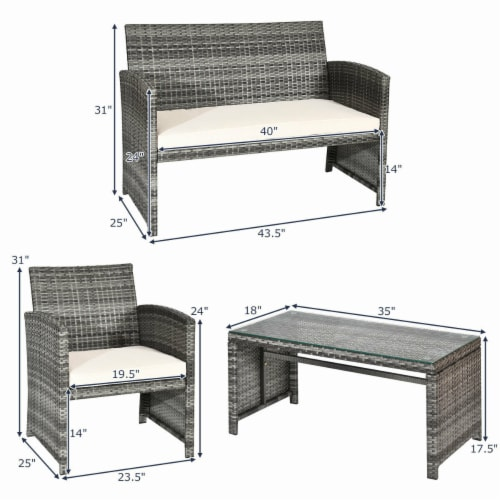 Costway 4 Pc Rattan Patio Furniture Set Garden Lawn Sofa Cushioned Seat Mix Gray Wicker Perspective: bottom