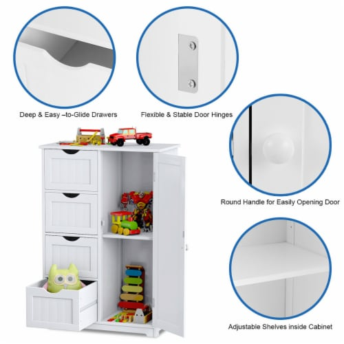 Costway Wooden 4 Drawer Bathroom Cabinet Storage Cupboard 2 Shelves Free Standing White Perspective: bottom