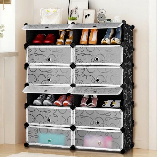 Costway 12 Cubic Portable Shoe Rack Shelf Cabinet Storage Closet Organizer Home Furni Perspective: bottom