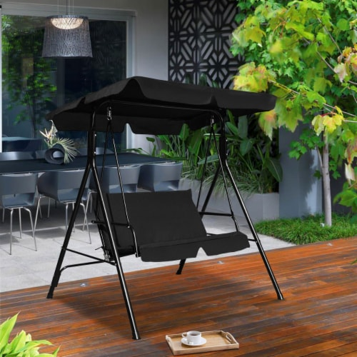 Costway Loveseat Patio Canopy Swing Glider Hammock Cushioned Steel Frame Outdoor Black Perspective: bottom