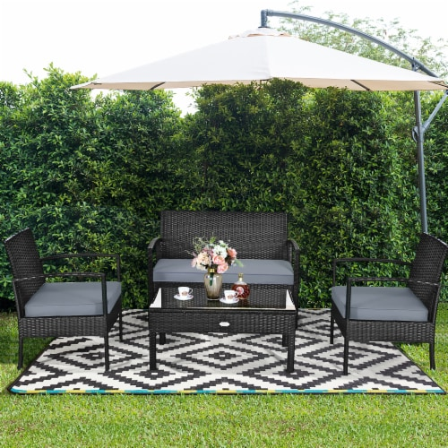 Costway 4PCS Outdoor Patio Rattan Furniture Set Cushioned Sofa Coffee Table Garden Deck Perspective: bottom