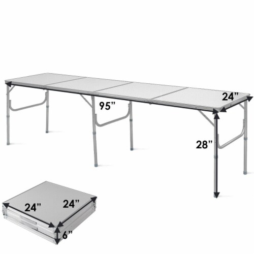 Costway 8FT Aluminum Folding Picnic Camping Table Lightweight In/Outdoor Garden Party Perspective: bottom