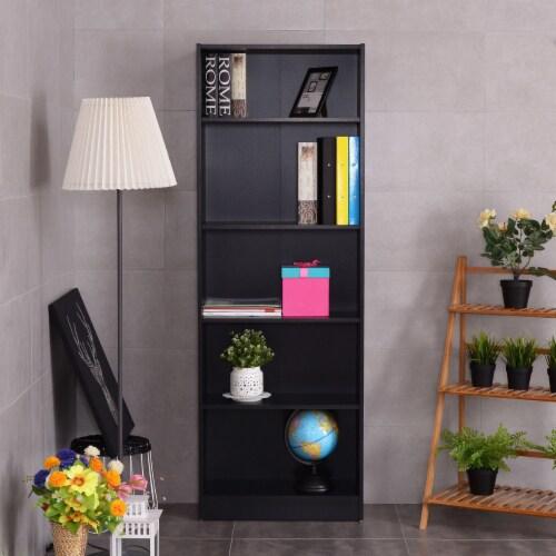 Costway Modern 5 Tier Shelf Bookcase Storage Media Storage Organization Cabinet Black Perspective: bottom